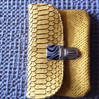 Porte monnaie femme similicuir jaune, porte monnaie imitation reptile