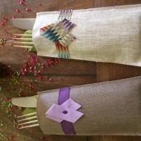 Etui à couverts en coton enduit pour table en fête