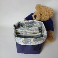 lot de 8 lingettes - débarbouillettes lavables - éponge bio et son petit panier imperméable