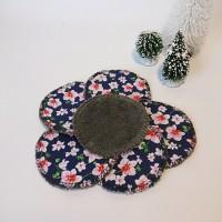 lot de 6 lingettes démaquillantes lavables - éponge bambou et coton imprimé - fleur