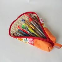 Gisel, la trousse xxl ?fleur  & nubuck orange