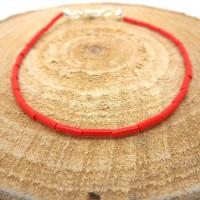 Bracelet fin a porter seul ou à assembler, perles tubes rouges